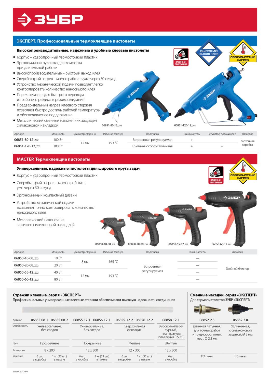 ЗУБР Профессионал прозрачные сверхпрочные клеевые стержни, d 11 х 300 мм (11-12 мм)  6 шт. 200 г.
