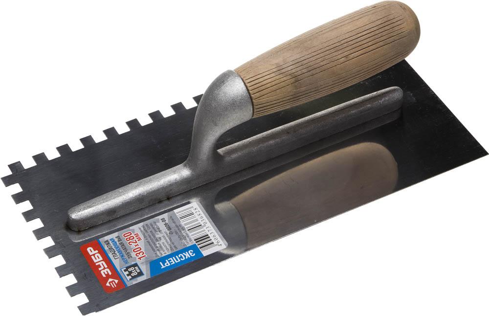 ЗУБР Эксперт 130х280 мм, 8х8 мм, гладилка штукатурная зубчатая нержавеющая с деревянной буковой ручкой. Серия Профессионал.