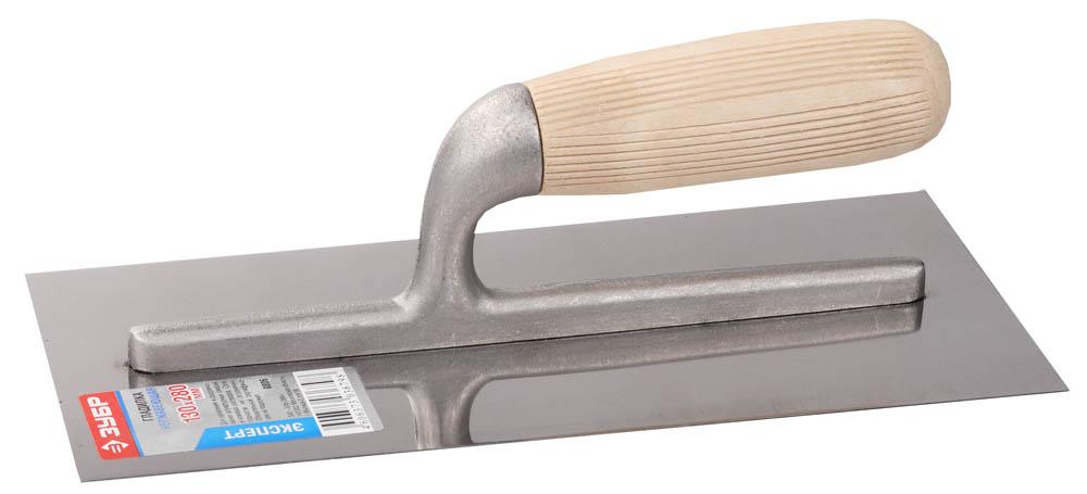 ЗУБР Эксперт 130х280 мм гладилка штукатурная нержавеющая с деревянной буковой ручкой. Серия Профессионал.