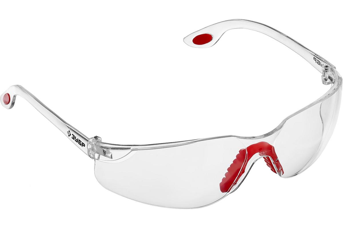 ЗУБР Спектр 5 Прозрачные, очки защитные открытого типа, регулируемые по длине дужки.