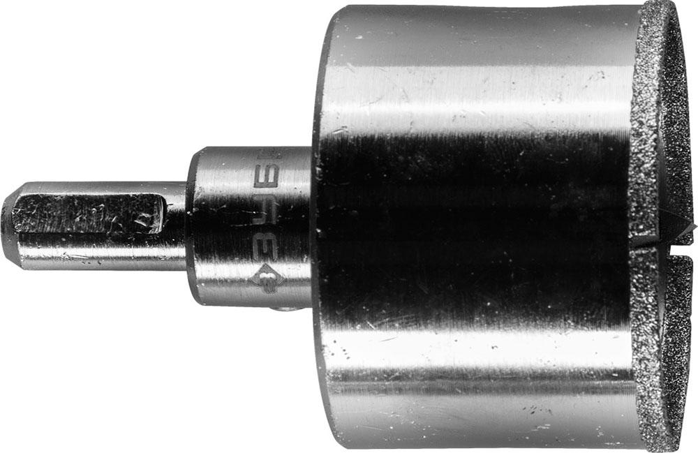 Коронка алмазная по кафелю и стеклу, d=45 мм, зерно Р 60, в сборе с центрирующим сверлом и имбусовым ключом, ЗУБР Профессионал 29850-45