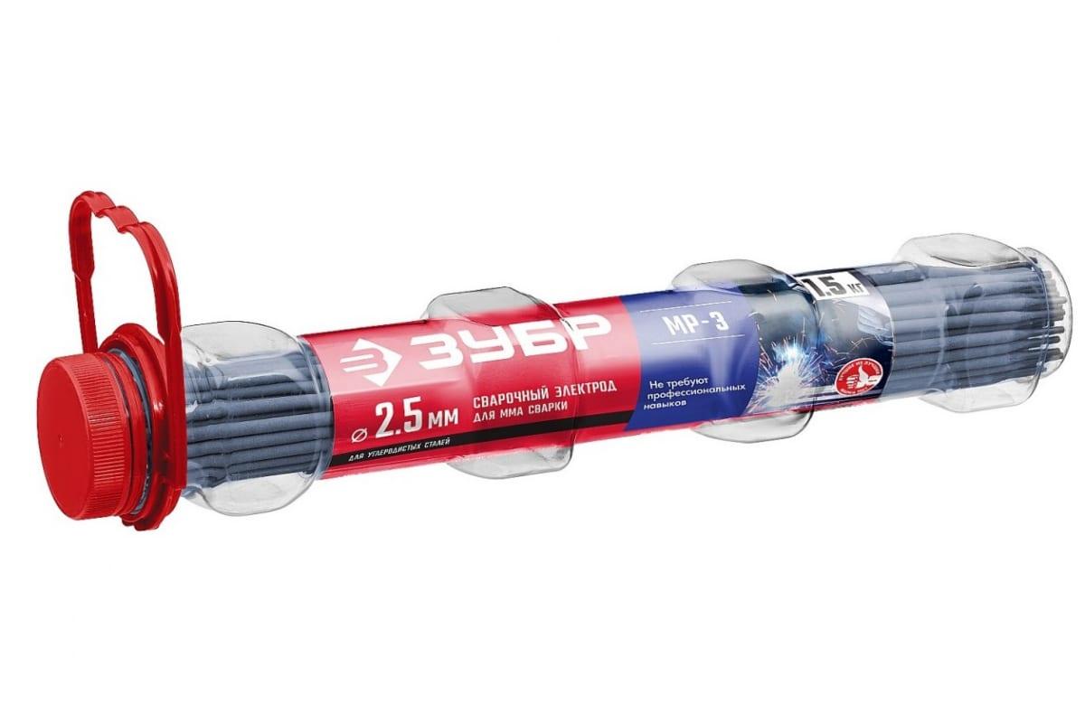ЗУБР электрод сварочный МР-3 с рутиловым покрытием, для ММА сварки, d 2.5 х 350 мм, 5 кг в коробке.