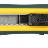 Нож с сегмент. лезвием, KRAFTOOL 09193, 2-х комп., усилен, автофиксация, кассета с 6 лезвиями, допфиксатор, 18 мм